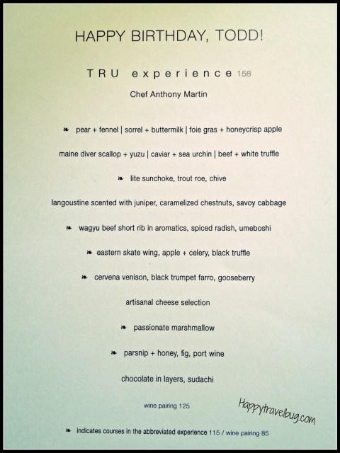 Menu from TRU restaurant in Chicago