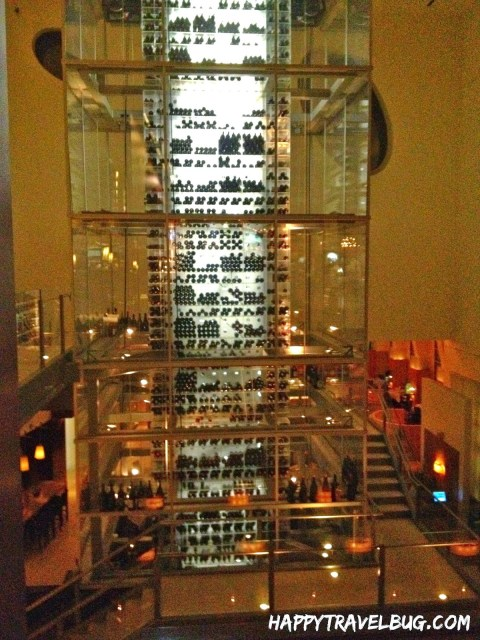 Wine tower at Aureole Restaurant in Las Vegas