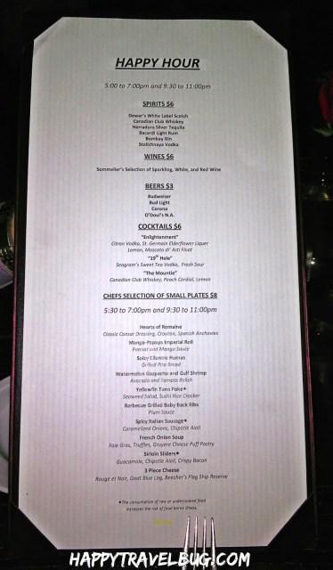 Happy Hour menu at Aureole Restaurant in Las Vegas