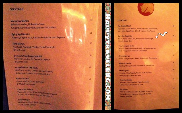 Cocktail menu at Nobu in Las Vegas