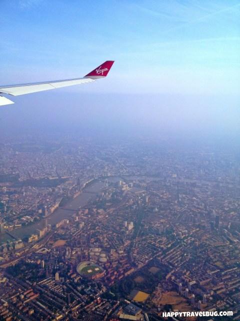 Seeing London from my virgin Atlantic airplane window