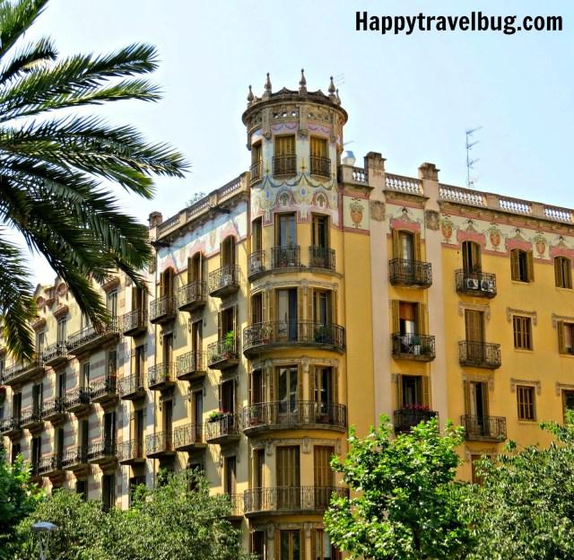 Building in Barcelona, Spain with beautiful balconies