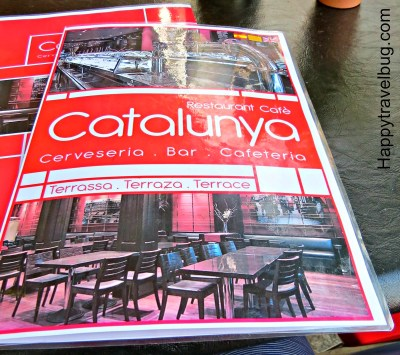 Catalunya restaurant menu in Barcelona, Spain