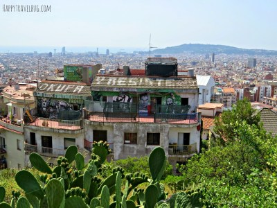 View of Barcelona from Park Guell in Barcelona, Spain