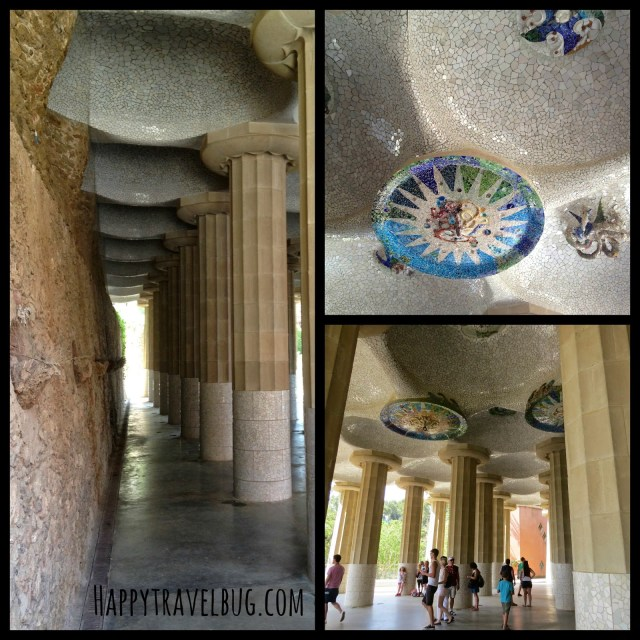 Columns and mosaics at Park Guell in Barcelona, Spain