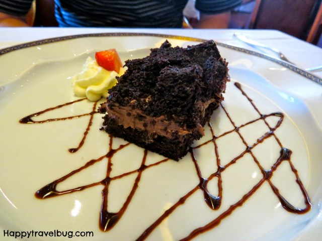 Chocolate dessert from dinner on our Holland America Cruise