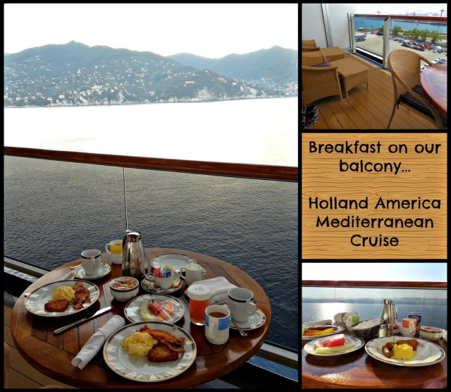 Breakfast on the balcony of our Signature Suite on a Holland America Cruise