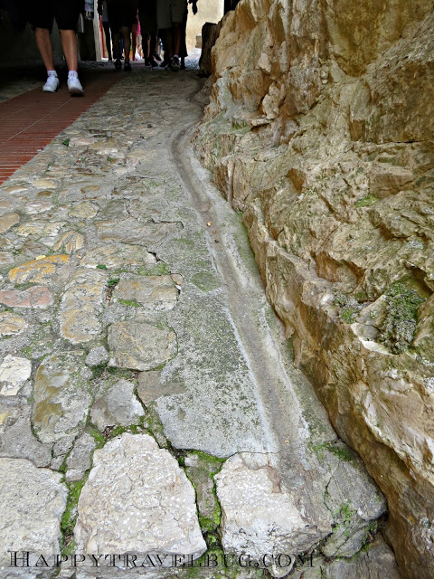 Water/sewer line in medieval Eze, France street