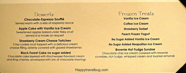 Dessert menu from our Holland America Cruise Dinner
