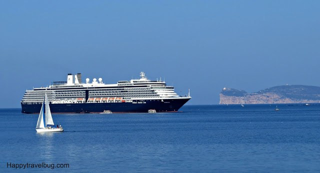 Holland America cruise ship in Alghero, Sardinia, Italy