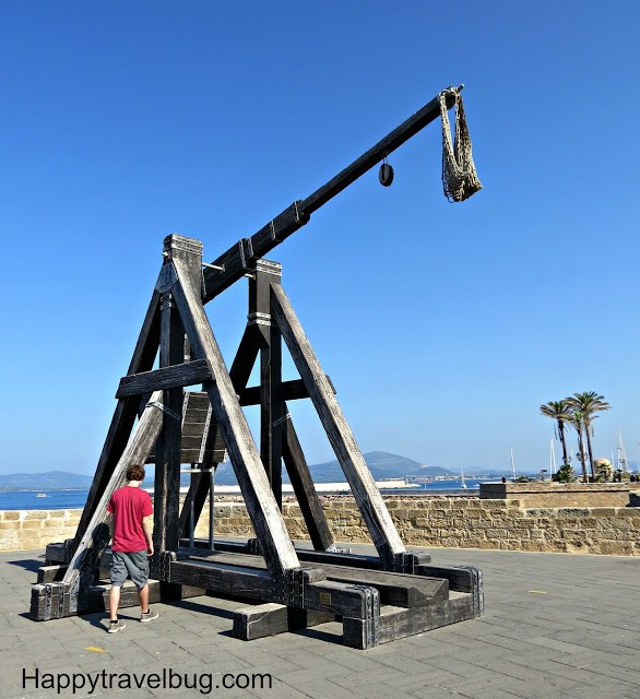 Huge catapult on the wall of Alghero, Sardinia, Italy
