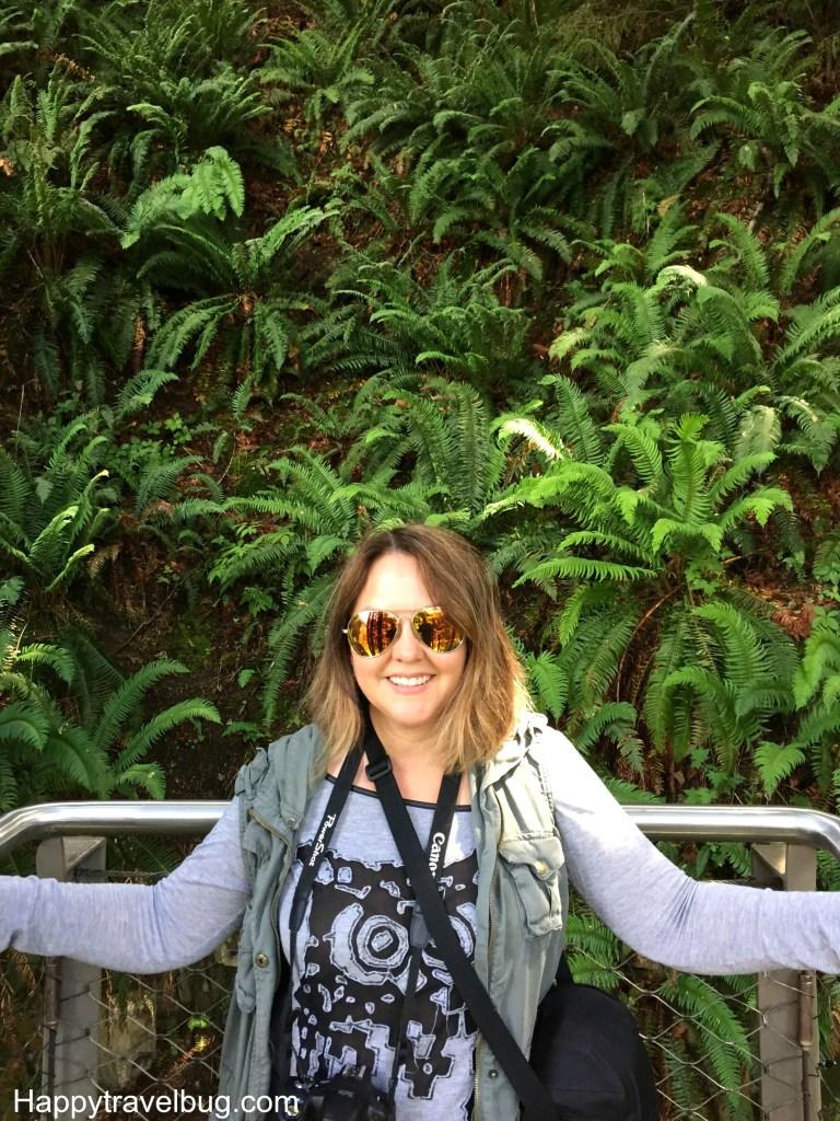 Me and ferns at Cliffwalk at Capilano Suspension Bridge Park in Vancouver, Canada