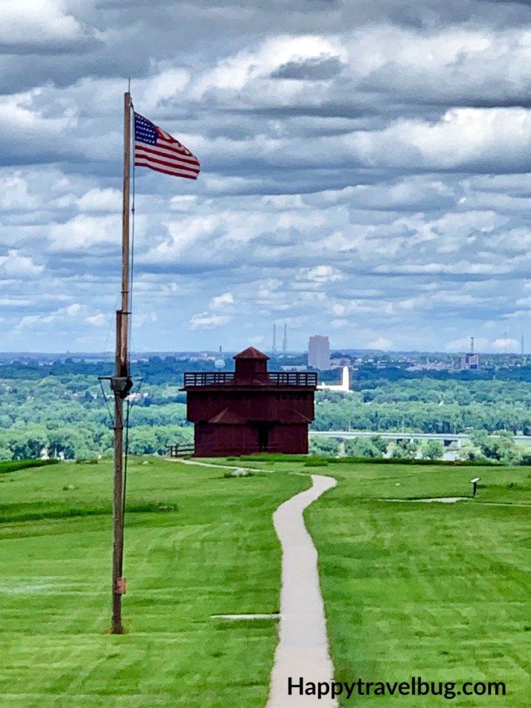American flag waving at the infantry post in Fort Abraham Lincoln State Park
