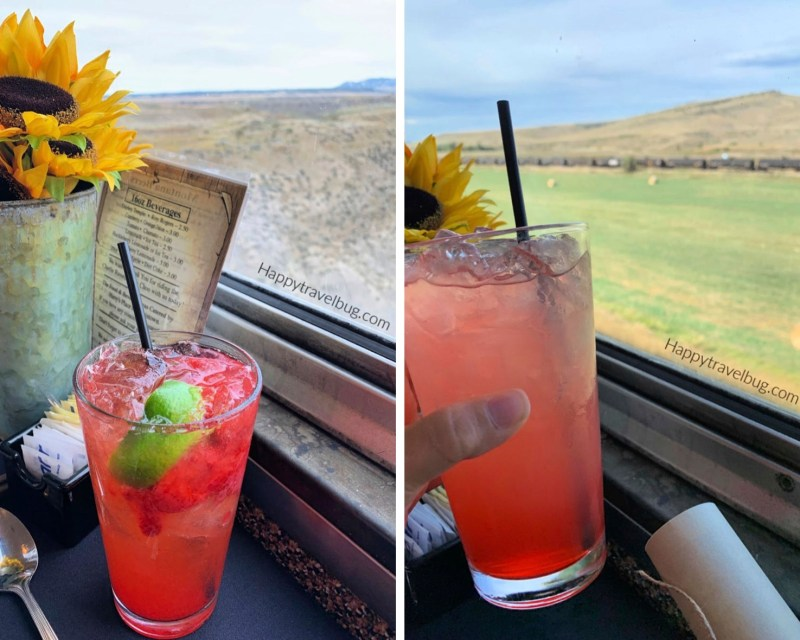 red cocktails on a train