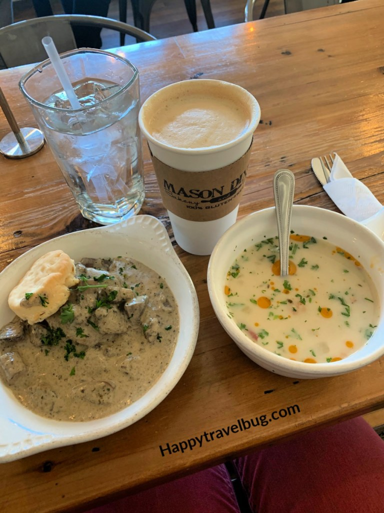 Latte, biscuit and mushroom gravy and soup