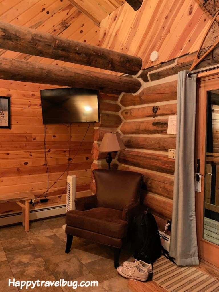 Log cabin lodge with chair and tv