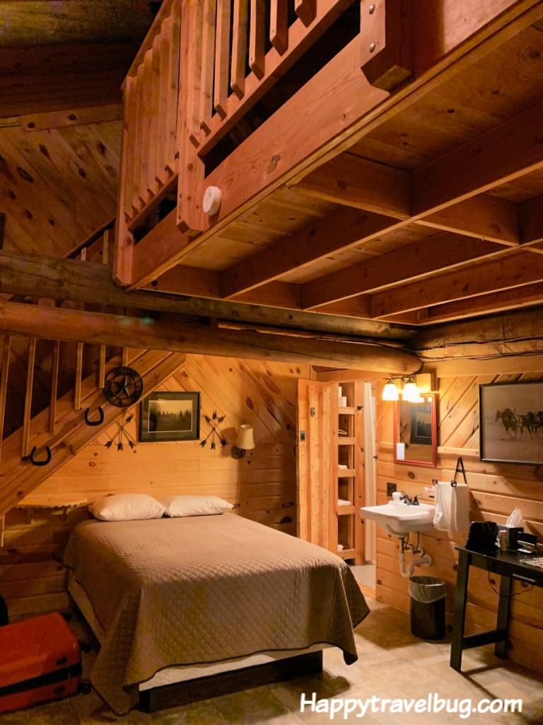 log cabin style bedroom