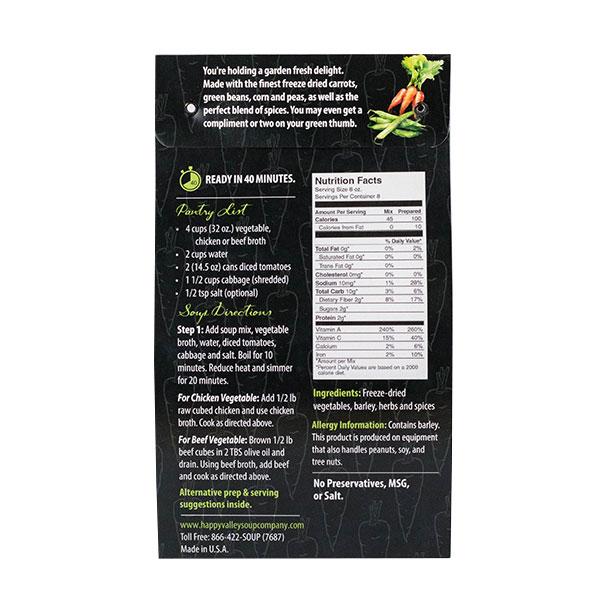 Garden Vegetable Back of Label