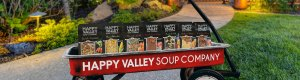 Happy Valley Soups in a red wagon