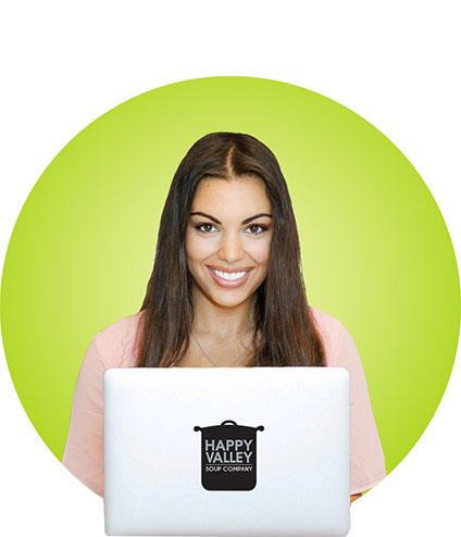 Girl Buying Soups Online