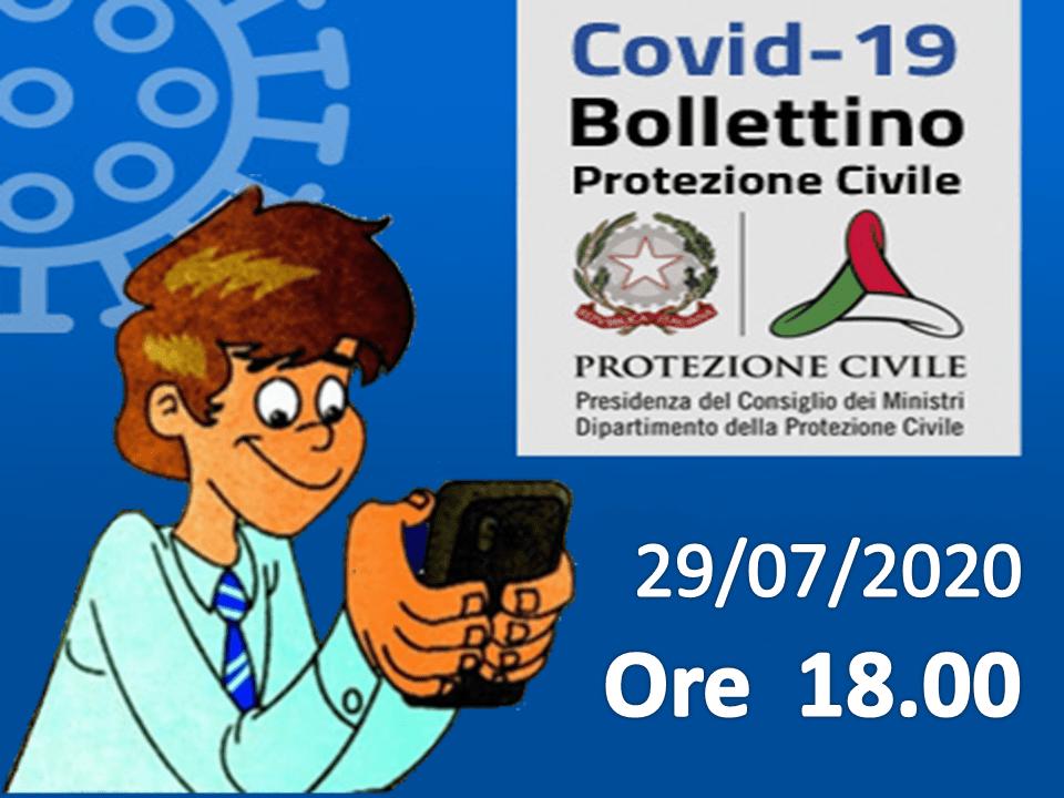 Bollettino Covid-19: i casi in Italia alle ore 18 del 29 luglio
