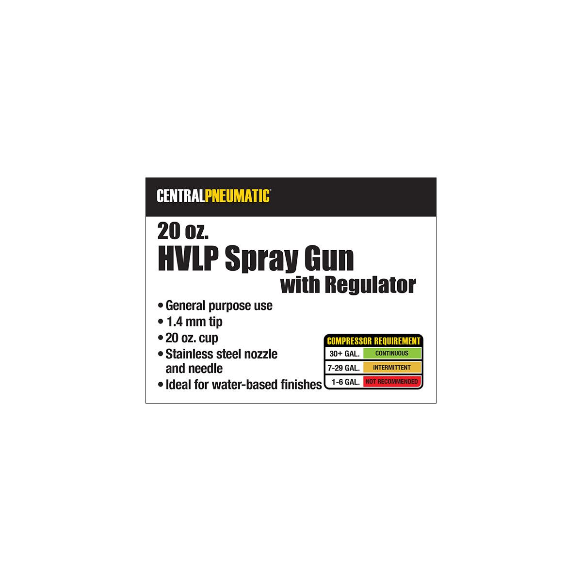 20 Oz Hvlp Gravity Feed Air Spray Gun With Regulator