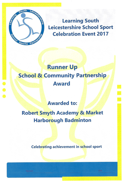 School and Community Partnership 2017 Award - Robert Smyth - Harborough Badminton