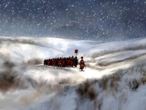 A graphic of Romans on a snowy hill