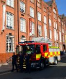 Fire fighters outside The Symington Building