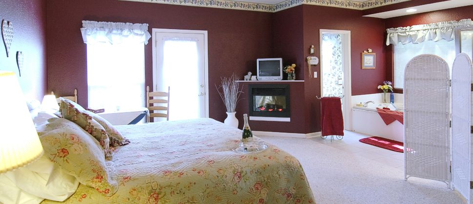 Burgandy walled bedroom with fireplace, large tub and bed with champagne