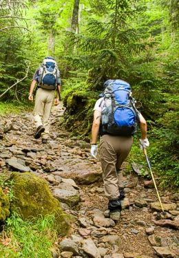 People hiking up stony trail with blue backpacks