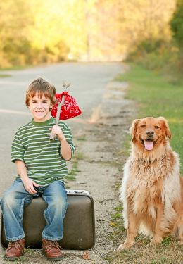 Little boy on suitcase with red kerchief on a stick and golden retreiver dog next to him