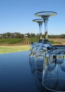 Wine glasses placed upside down in table with vineyard in background