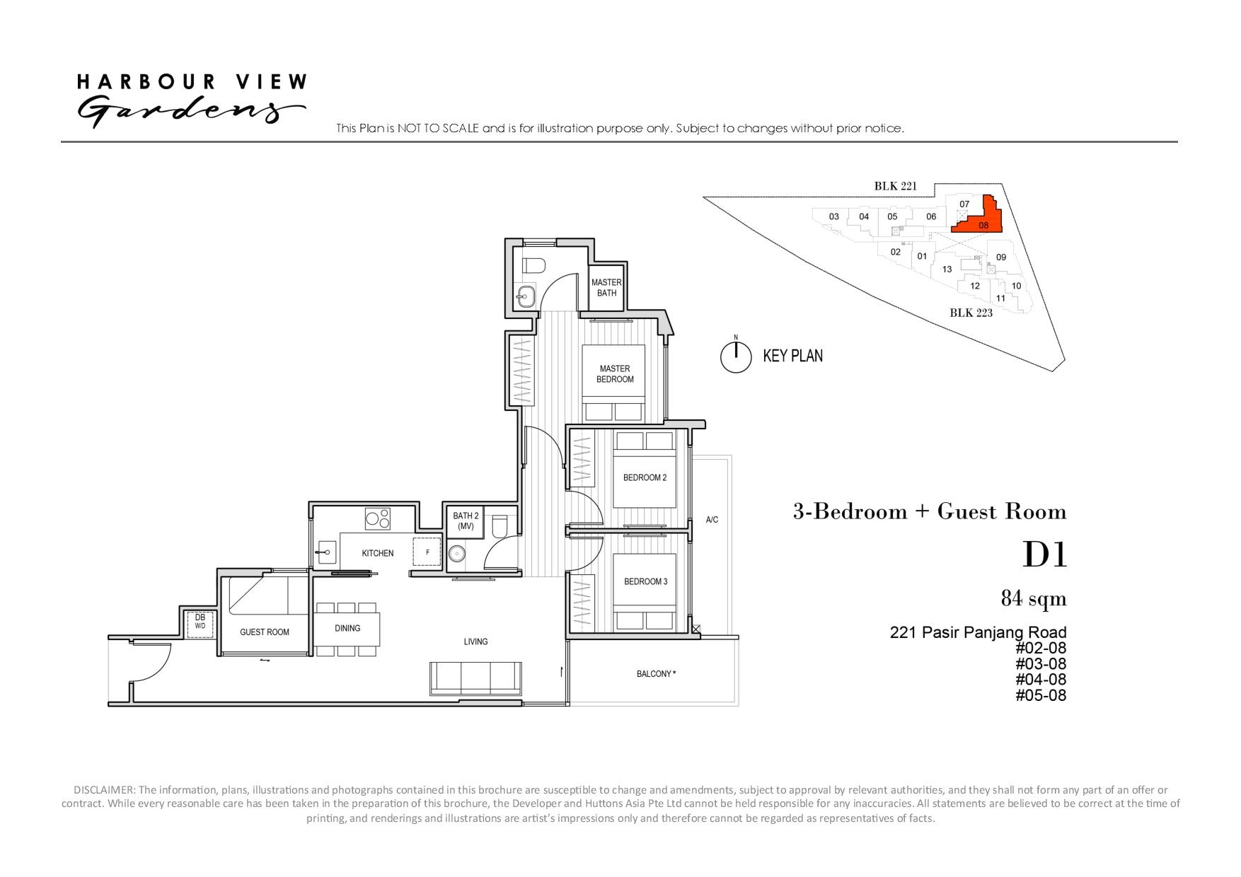 Harbour View Gardens 3 Bedroom + Guest Floor Plans Type D1