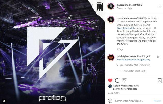 Ankündigung der Kooperation zwischen Musical Madness und Proton The Club