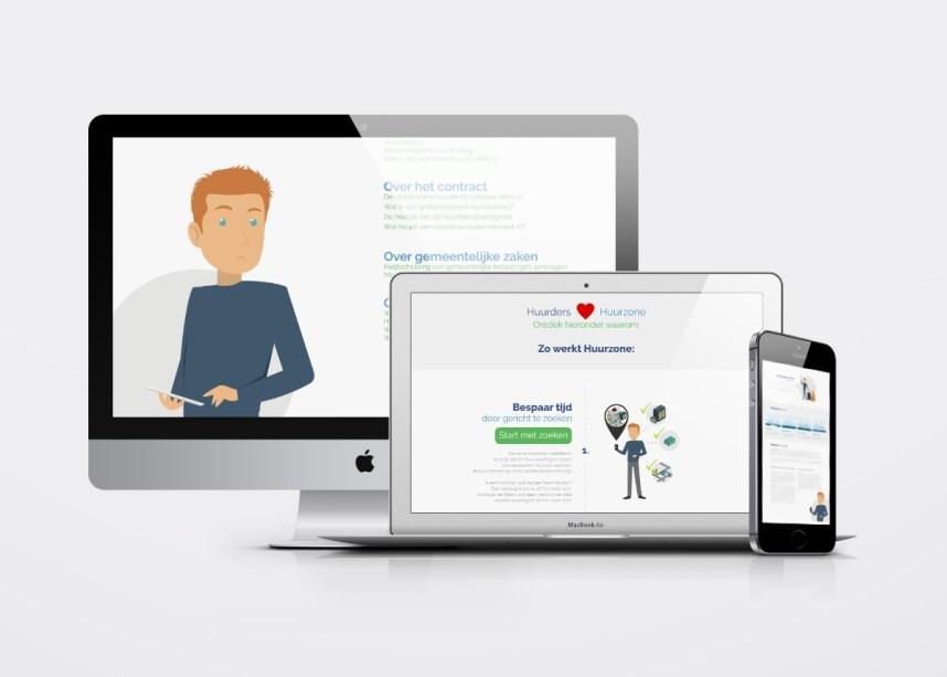 Webdesign (aangeleverd in layered psd). Bezoek de website van Huurzone.nl