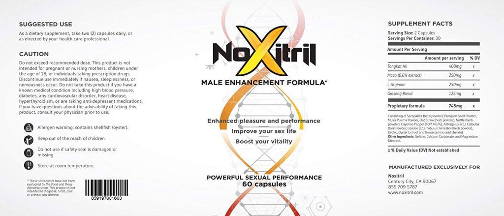 Noxitril supplement facts