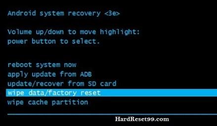 Hard Reset wipe data menu