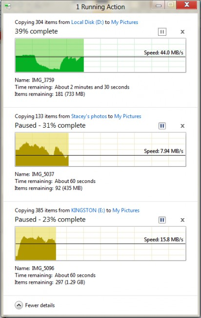 Ao pausar as demais, note o aumento na velocidade da primeira