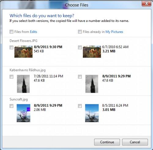 Tela da substituição dos arquivos no Windows 8: bem melhor!