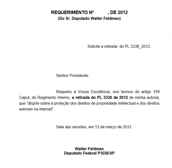 Solicitação de retirada do PL 3336/12