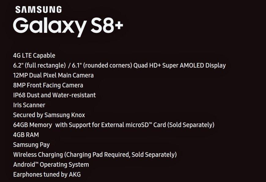 galaxys8 spec 1024x704 - Samsung Galaxy S8+: svelate le caratteristiche tecniche complete