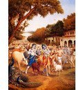 ISKCON BBT KRISHNA BALARAM LEAVES FOR THE FOREST WITH COWS FINE ART PAPER PRINT POSTER