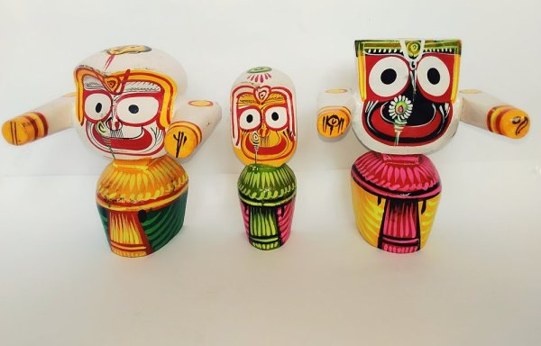 Lord Jagannath, Baladeva and Subhadra Original Neem wood 4 Inches height
