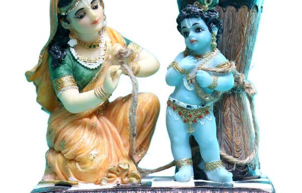 Lord Damodar Krishna Ukhal Bandhan with Yashoda Polyresin Idol Multicolour Marble Finish Special Gift Item/Work Place/Office