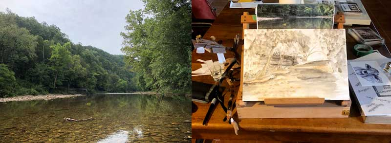 A plein air painting in progress, waiting to go back on location at Ponca, Arkansas.