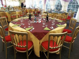Ready to eat in the marquee