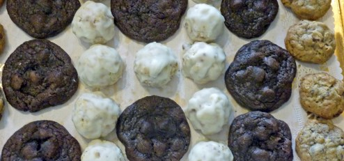 Homemade Chocolate Chip Coconut Pecan Cookies; Lemon Snowdrop Cookies, and Chewy Chocolate Chocolate Chip Cookies