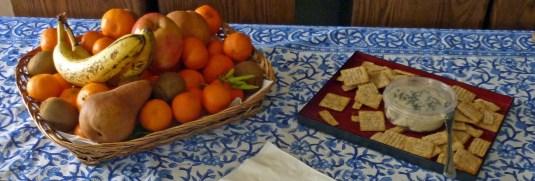 Vegan Cheese, Crackers, Almonds, Fruits
