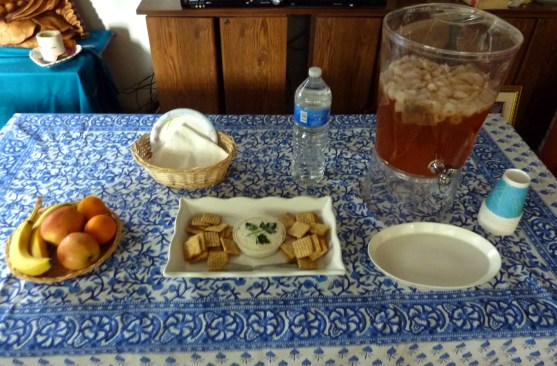 Homemade Vegan Boursin with assorted crackers, mesquite roasted almonds, seasonal fruits, herbal iced tea, bottled water.
